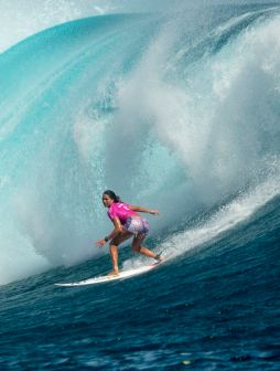 Hawaii's Malia Manuel is no stranger to powerful Pacific Ocean waves.